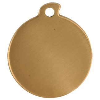 Round dog tag made of  brushed brass