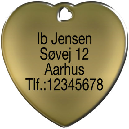 Picture of heart shaped dog tag with 4 lines.