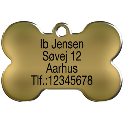 Picture dog tag made of brass, shaped like a bone and engraved with 4 lines og text.