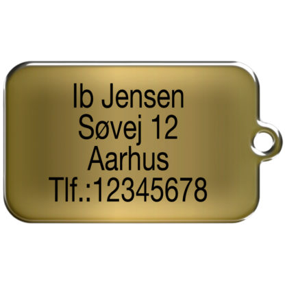 Rectangular dog tag without motif made of brass and engraved with 4 lines og text.