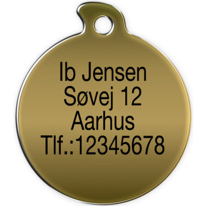 Image of round dog tag without motif made of brass and engraved with 4 lines of text.