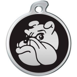 Billede af rundt hundetegn med sølvfarvet bulldog på sort baggrund.