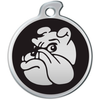 Picture of round dog tag with metallic bulldog on black background.