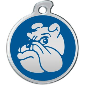Picture of round dog tag with metallic bulldog on blue background.