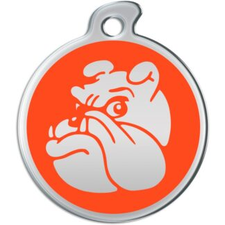 Picture of round dog tag with metallic bulldog on orange background.