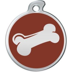Billede af rundt hundetegn med sølvfarvet kødben på brun baggrund.