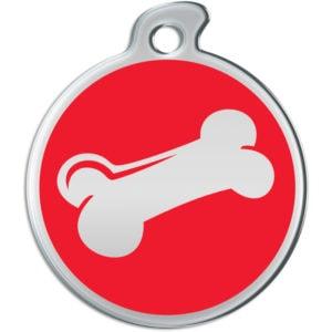 Billede af rundt hundetegn med sølvfarvet kødben på rød baggrund.