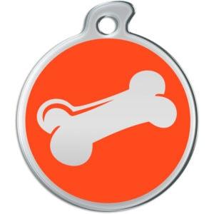 Billede af rundt hundetegn med sølvfarvet kødben på orange baggrund.