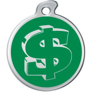 Billede af rundt hundetegn med sølvfarvet dollartegn på grøn baggrund.