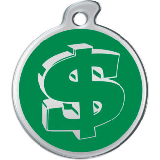 Picture of round dog tag decorated with dollar sign on a green background.