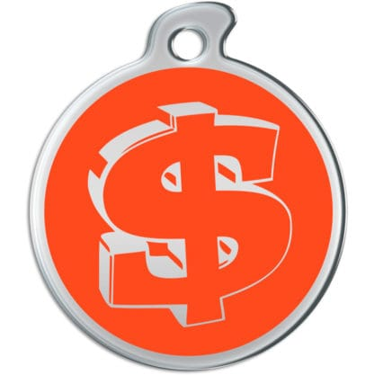 Picture of round dog tag decorated with dollar sign on an orange background.