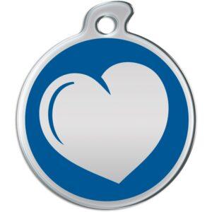 Billede af rundt hundetegn med hjerte på blå baggrund.