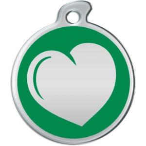 Billede af rundt hundetegn med hjerte på grøn baggrund.