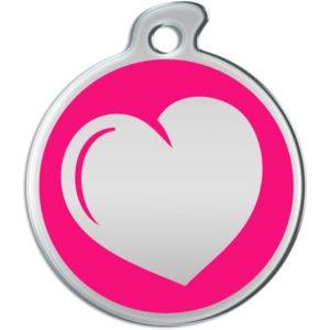 Billede af rundt hundetegn med hjerte på pink baggrund.