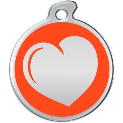 Billede af rundt hundetegn med hjerte på orange baggrund.