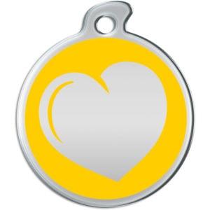 Billede af rundt hundetegn med hjerte på gul baggrund.