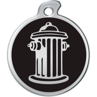 Picture of round dog tag with silvery fire hydrant on black background.