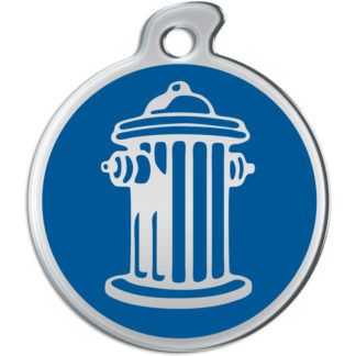 Picture of round dog tag with silvery fire hydrant on blue background.
