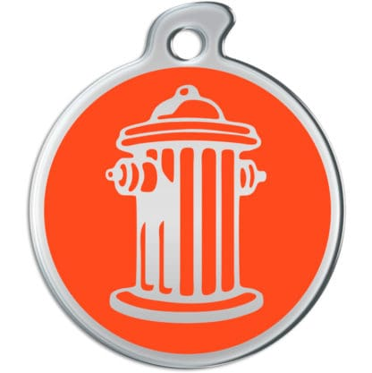Picture of round dog tag with silvery fire hydrant on red background.