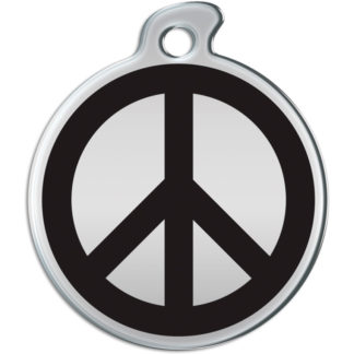 Picture of round dog tag with black peace sign on silver background