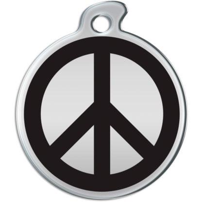 Billede af rundt hundetegn med sort fredstegn på sølvfarvet baggrund