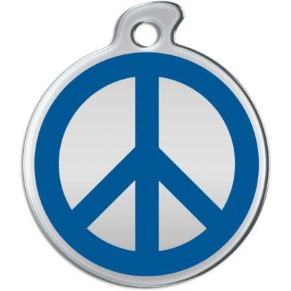 Billede af rundt hundetegn med blåt fredstegn på sølvfarvet baggrund