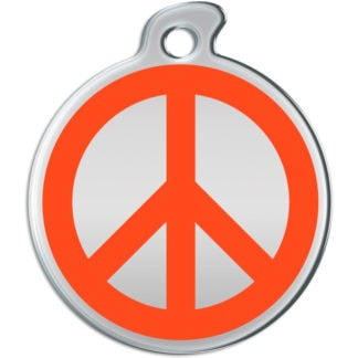 Picture of round dog tag with orange peace sign on silver background