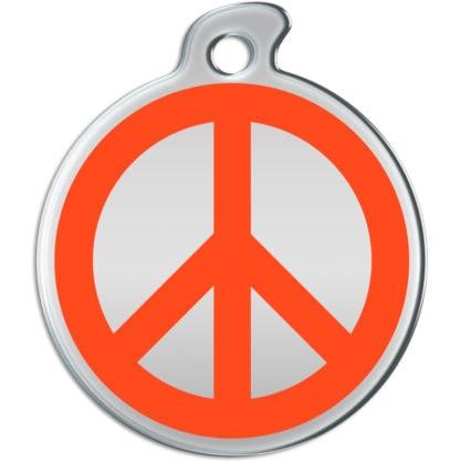 Billede af rundt hundetegn med orange fredstegn på sølvfarvet baggrund