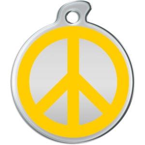 Billede af rundt hundetegn med gult fredstegn på sølvfarvet baggrund