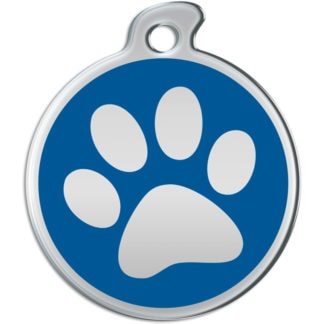 Image of a round dog tag with metallic paw on blue background.