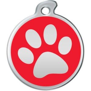 Billede af rundt hundetegn med aftryk af pote på rød baggrund.