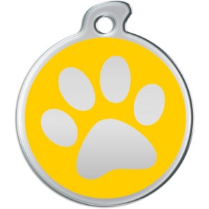Billede af rundt hundetegn med aftryk af pote på gul baggrund.