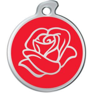 Billede af rundt hundetegn med rose på rød baggrund.