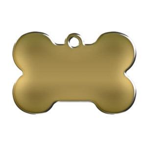 Billede af messingfarvet hundetegn formet som kødben uden motiv.