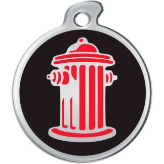 Image of a round dog tag with red fire hydrant on a black background.
