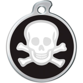 Picture of round dog tag with white skull on black background.