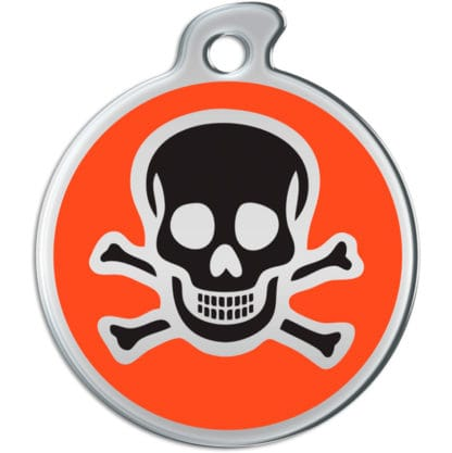 Picture of round dog tag with black skull on orange background.