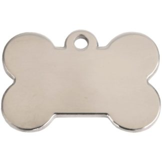 Hundetegn af poleret rustfrit stål formet som et kødben.