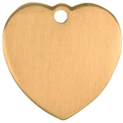 Hjerteformet hundetegn af børstet messing.