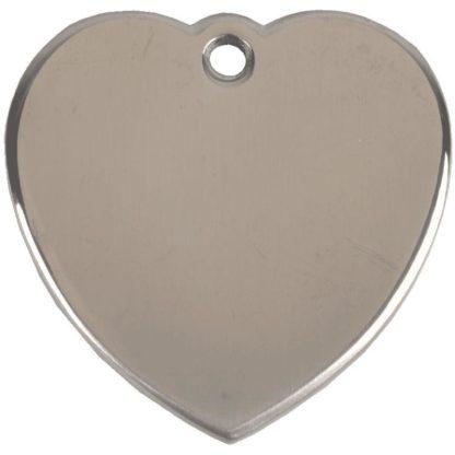 Hjerteformet hundetegn af rustfrit stål.