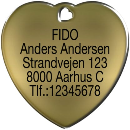 Picture of heart-shaped dog tag without motif made of brass.