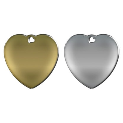 Picture of heart-shaped dog tag without motif made of brass or stainless steel.