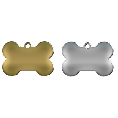 Dog tags shaped like a bone, made of stainless steel or brass.