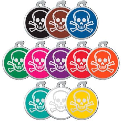 Bild der Erkennungsmarke mit Schädel in allen Farben.