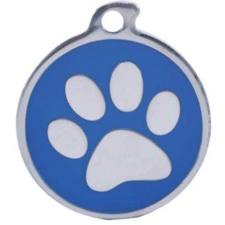 Hundetegn med stålfarvet pote på blå baggrund.
