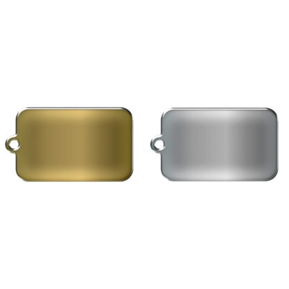 Rectangular dog tag without motif made of stainless steel or brass.