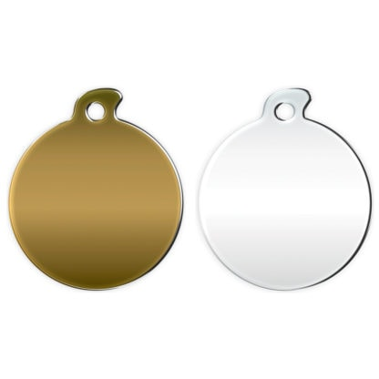 Image of round dog tag without motif all versions.