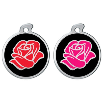 Round dog tags decorated with a pink or red rose on a black background.